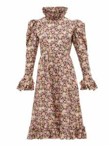 Batsheva - Ruffled Floral Print Cotton Dress - Womens - Pink Multi