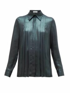 Gabriela Hearst - Pierre Pleated Silk Lamé Shirt - Womens - Green