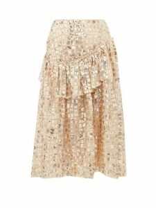 Simone Rocha - Sequinned Ruffled Tulle Midi Skirt - Womens - Gold