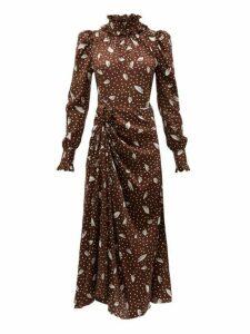 Alessandra Rich - High Neck Printed Jacquard Silk Dress - Womens - Brown Multi
