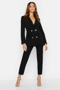 Womens Double Breasted Military Blazer - black - 14, Black