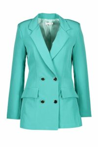 Womens Double Breasted Military Blazer - green - 14, Green