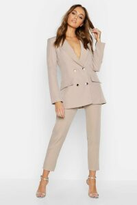 Womens Double Breasted Military Blazer - beige - 14, Beige