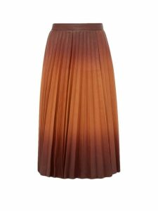 Givenchy - Degradé Pleated Leather Midi Skirt - Womens - Brown Multi