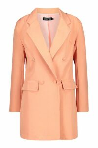 Womens Extreme Oversized Boyfriend Blazer Contrast Stitch - orange - 10, Orange