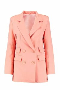 Womens Woven Double Pocket Blazer - orange - 14, Orange