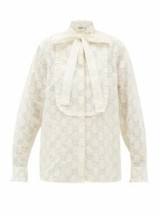 Gucci - Gg Broderie Anglaise Cotton Blend Shirt - Womens - White Gold