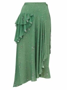 Preen Line - Electra Ruffled Floral Print Crepe Wrap Skirt - Womens - Green Multi