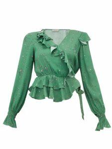 Preen Line - Paloma Floral Print Crepe Wrap Top - Womens - Green Multi