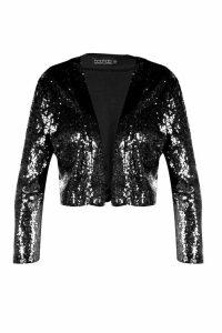 Womens Plus Louise Sequin Crop Jacket - black - 24, Black