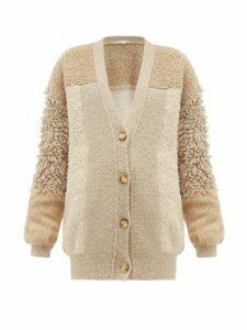 Stella Mccartney - Faux Fur Trimmed Knitted Cardigan - Womens - Beige Multi