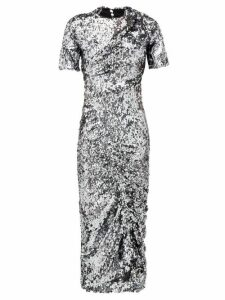 Preen By Thornton Bregazzi - Sophia Sequinned Ruched Front Midi Dress - Womens - Dark Grey