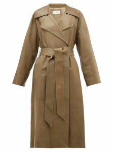 The Row - Efo Leather Trench Coat - Womens - Dark Tan
