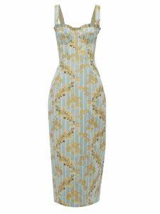 Brock Collection - Pelagia Cotton Blend Floral Brocade Dress - Womens - Blue Multi