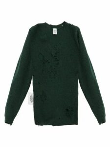 Vetements - Distressed V Neck Wool Sweater - Womens - Green