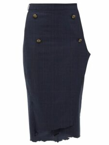 Vetements - Distressed Hem Checked Wool Pencil Skirt - Womens - Navy