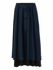 Vetements - Transformer Double Layer Jacquard Satin Skirt - Womens - Navy