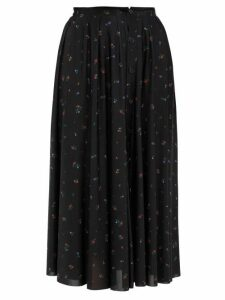 Vetements - Floral Print Crepe Midi Skirt - Womens - Black Multi