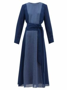 Cefinn - Panelled Belted Voile Midi Dress - Womens - Blue Multi