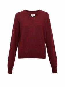 Maison Margiela - Cut Out Wool Sweater - Womens - Burgundy