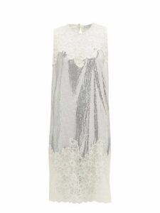Paco Rabanne - Chantilly Lace Trimmed Chainmail Mini Dress - Womens - Silver
