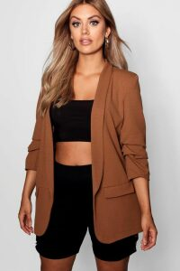 Womens Plus Ruched Sleeve Blazer - brown - 22, Brown