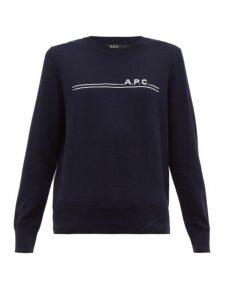A.p.c. - Logo Jacquard Cotton Blend Sweater - Womens - Navy