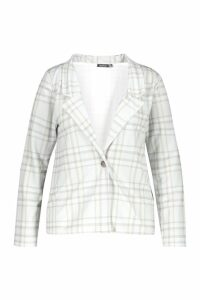 Womens Check Print Button Blazer - grey - 16, Grey
