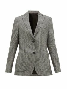 Officine Générale - Vanessa Single Breasted Houndstooth Wool Blazer - Womens - Black White