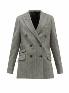 Officine Générale - Manon Double Breasted Wool Blend Blazer - Womens - Black White