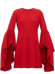 Giambattista Valli - Fluted Cuff Crepe Dress - Womens - Red