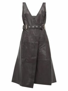 Proenza Schouler - Belted V Neck Leather Wrap Dress - Womens - Black