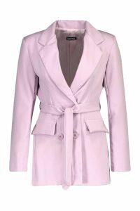 Womens Woven Double Breasted Tie Belt Blazer - purple - 14, Purple