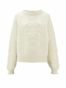 Barrie - Cable Knit Cashmere And Lambswool Sweater - Womens - Ivory