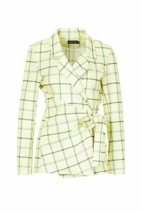 Womens Checked Tie Front Blazer - yellow - 12, Yellow