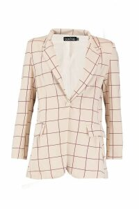 Womens Window Pane Check Oversized Blazer - beige - 12, Beige