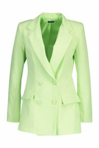 Womens Woven Double Breasted Pocket Blazer - green - 10, Green