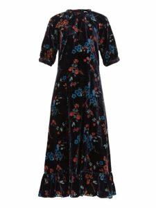 Sea - Mari Velvet Print Dress - Womens - Black Multi