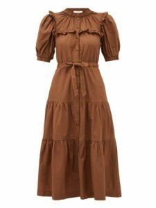 Sea - Rumi Tiered Cotton Canvas Midi Dress - Womens - Brown