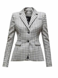 Altuzarra - Fenice Single Breasted Checked Wool Blend Blazer - Womens - Black White