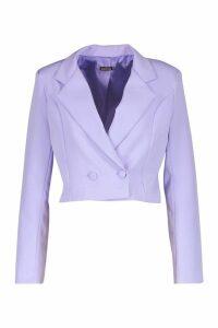 Womens Cropped Double Breasted Blazer - purple - 10, Purple