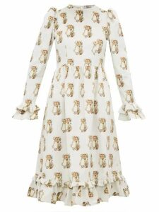 Batsheva - Holly Hobbie Print Cotton Velvet Dress - Womens - White