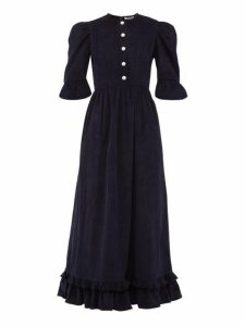 Batsheva - Puff Sleeve Cotton Corduroy Dress - Womens - Navy