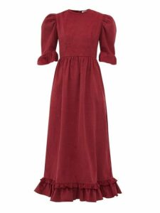 Batsheva - Puff Sleeve Cotton Corduroy Dress - Womens - Burgundy