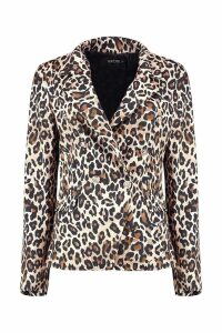 Womens Leopard Military Button Blazer - beige - S, Beige