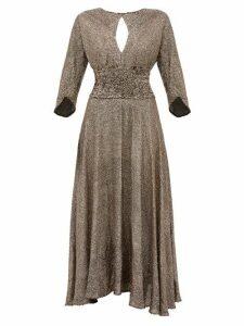 Maria Lucia Hohan - Kalea Sequinned Chiffon Midi Dress - Womens - Bronze