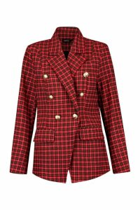 Womens Double Breasted Gold Button Tartan Blazer - red - 6, Red