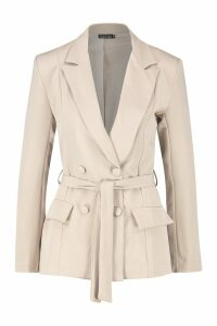 Womens Woven Fitted Double Breasted Tie Belt Blazer - beige - 14, Beige