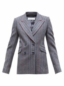 Gabriela Hearst - Angela Double Breasted Striped Herringbone Blazer - Womens - Grey Multi
