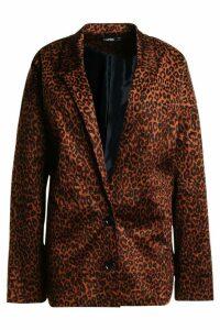 Womens Faux Fur Leopard Kimono Blazer - brown - 8, Brown